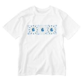 【プリズモリイ魔法雑貨店シリーズ】幸宝石と招魔法のアンティーク風グッズ/アクアマリン(藍玉) Washed T-shirts