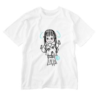 花梨画伯 しなももろーる Washed T-shirts