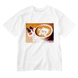 【ラテアート】冬のくまさん Washed T-shirts