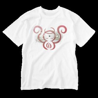 🍀森葉子グッズ🍀のお守り絵「ほっとけさん」透過4 Washed T-shirts