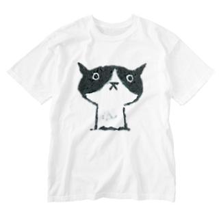 陶器絵ハチワレ猫さん Washed T-shirts