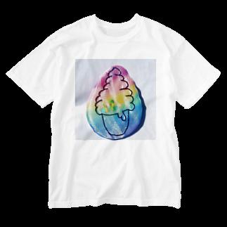 manualohaの虹色アイスクリーム Washed T-shirts