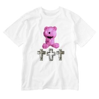 Peek-a-boo CROSS Teddy RASPBERRY  Washed T-shirts