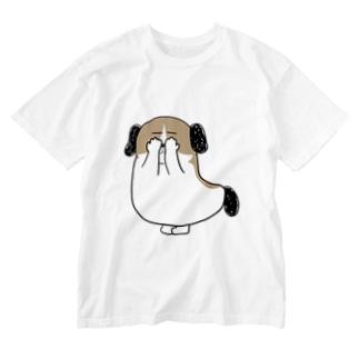 もじゃまる目隠し Washed T-shirts