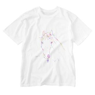 カラフルえんぴつうま Washed T-shirts