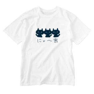 にゃー密 Washed T-shirts