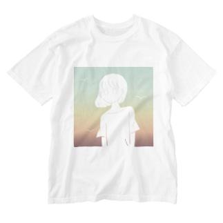 朝の海 Washed T-shirts