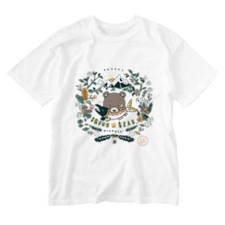 (薄色用)捕食クマ 顔アップバージョン Washed T-shirts