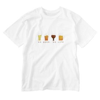 NO BEER,NO LIFE Washed T-shirts