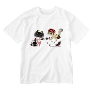 自転車屋さんな猫 Washed T-shirts
