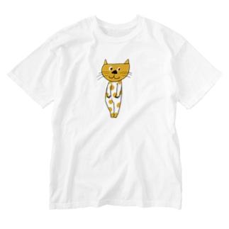 水玉ねこちゃん Washed T-shirts