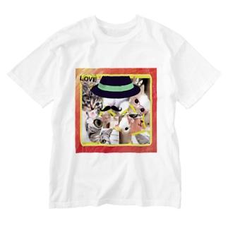 ニャンコ一杯賑(にぎ)やかし Washed T-shirts