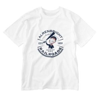 Railroads お猿さんエンブレム 青 Washed T-shirts