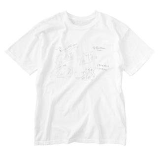 ねこの通院 Washed T-shirts
