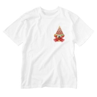 スイカとカニさん Washed T-shirts