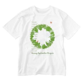 Gutchee ProjectsのGreen message_tsc01 Washed T-shirts