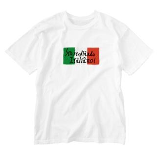 Bianco and NeROの私はイタリア語を勉強中です Washed T-shirts