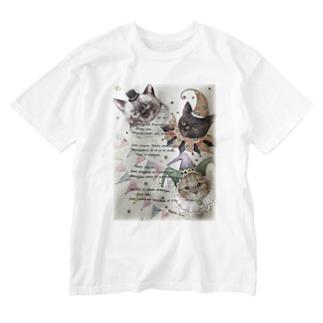 チョコ ジジ はっちゃん 三匹のサーカス Washed T-shirts