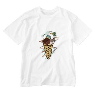チョコミントアヒル Washed T-shirts