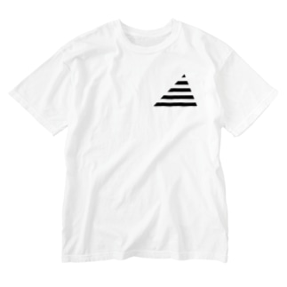Cropping Border T(Triangle) / Black-Gray Washed T-shirts