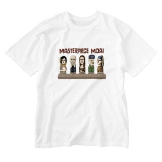 名画のモアイたち Washed T-shirts