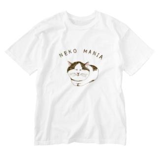 にゃんこ好き専用デザイン「猫マニア」 Washed T-shirts