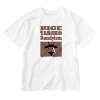 ヒゲタバコダンディズム(ブラウン) Washed T-shirts
