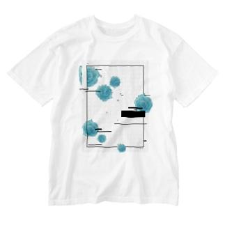 青い花と原稿用紙_MONO Washed T-shirts