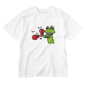 ボクシングカエル Washed T-shirts
