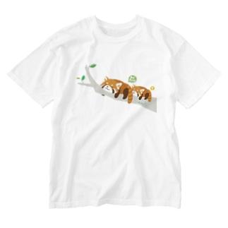 レッサーパンダの脱力ゆるゆる人生 Washed T-shirts