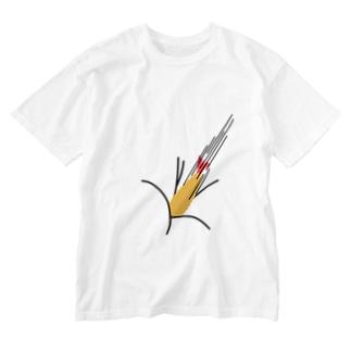 エビフライが直撃 Washed T-shirts