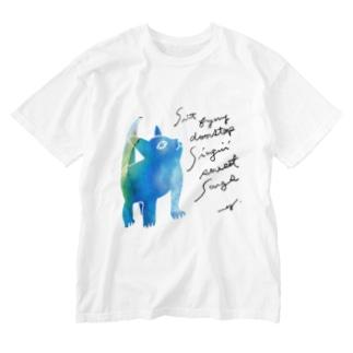 青いねこ Washed T-shirts