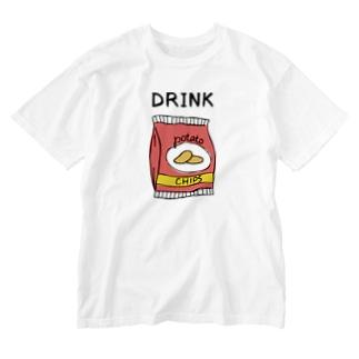 ポテチは飲み物 Washed T-shirts