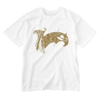 山羊の鐘(ゴールド) Washed T-shirts