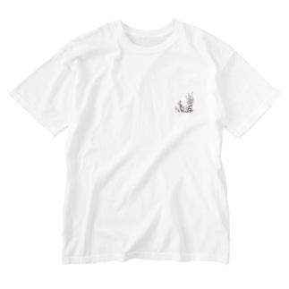 きのこと小人と時々カエル(えのき茸) Washed T-shirts