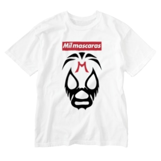 MIL MASCARAS-ミル・マスカラス-赤ボックスロゴ Washed T-shirts