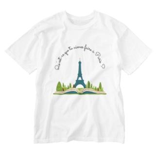 パリで何をするのが好き?エッフェル塔を遠くから見ることかな。 Washed T-shirts