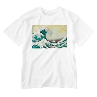 北斎油彩 Washed T-shirts