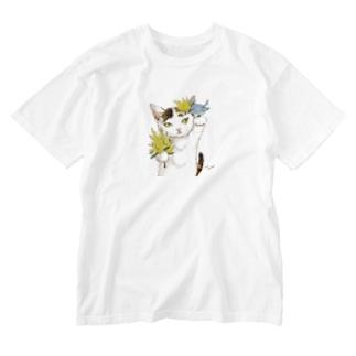 ミモザ小鳥びわ Washed T-shirts