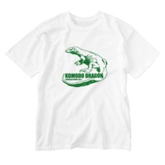 コモドドラゴン グリーン 古着屋パンダ Washed T-shirts