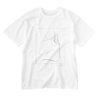 丸顔の女 Washed T-shirts