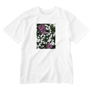 シロミミナグサとチューリップ Washed T-shirts