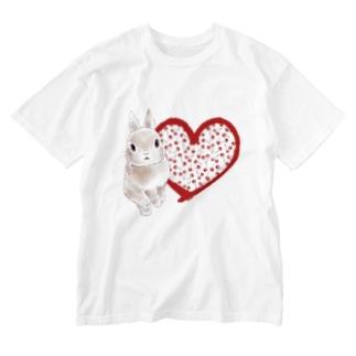 クレアとさくらんぼ(ハート) Washed T-shirts