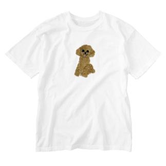 刺繍のトイプードル Washed T-shirts