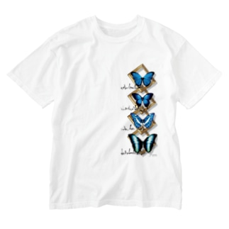 蝶と額 Washed T-shirts