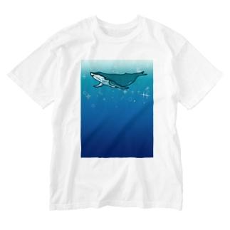スイスイクジラ Washed T-shirts