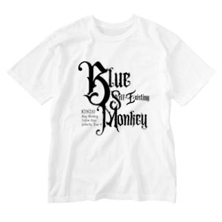 KIN251青い自己存在の猿 Washed T-shirts