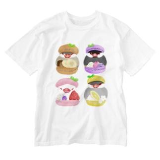 ぎゅっ♪マカロン文鳥ず Washed T-Shirt