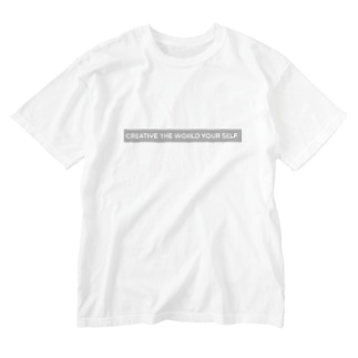 creative the world your self(グレー) Washed T-Shirt