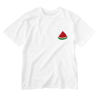 スイカ Washed T-shirts